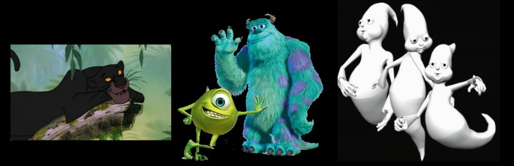 Bagheera, Monsters Inc and ghosts from Caspars