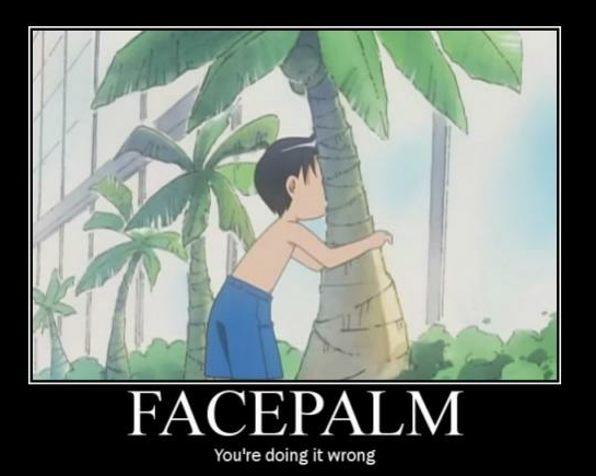face palm: a boy puts his face on a palm tree: image caption - face palm, you're doing it wrong