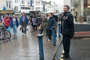 Simon preaches atheism next to Primark in Brighton