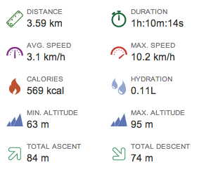 Average speed 3.1 km.h