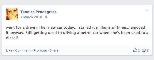 First car Facebook status update